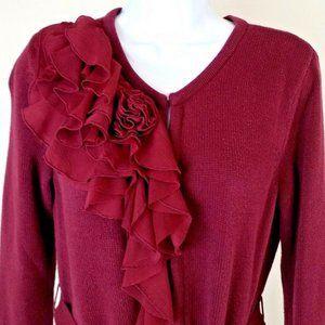 Elle Burgundy Long Sleeve Long Length Sweater